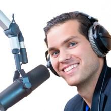 Presenter or host in radio station hosting show for radio live in Studio